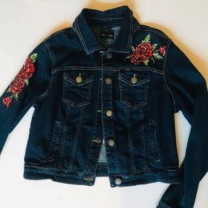 Embroidered And Cropped Jeans Jacket-New Look XL